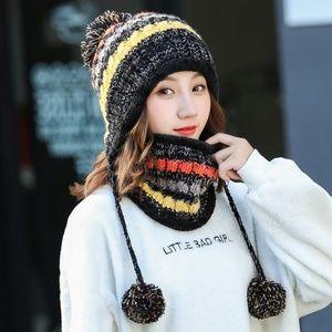 Colorful Knit Pom Pom Hat with Neck Gaiter